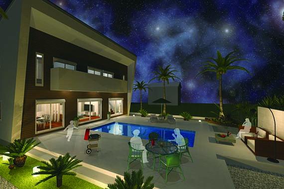 I型プラン 夜景のプールサイドイメージ