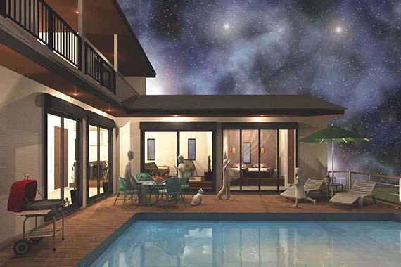 L型プラン 夜景のプールサイドイメージ
