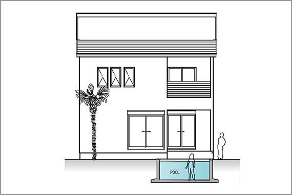 住居とプール配置の正面イメージ